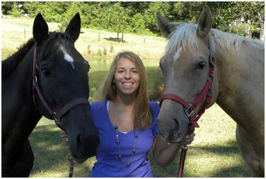 Justine with her horses